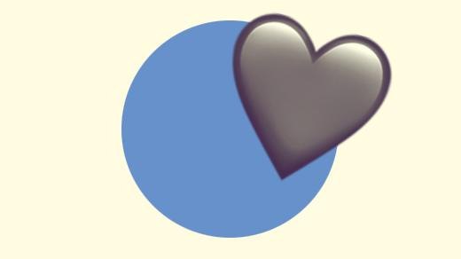 A duotoned dark purple and beige version of the Apple heart emoji, in front of a blue circle background