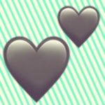 A duotoned dark purple and beige version of the Apple two hearts emoji, in front of a green striped background