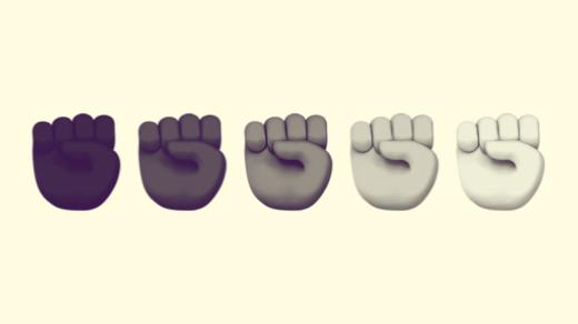 A duotoned dark purple and beige version of the Apple heart fist emoji in all five skin tone variations.