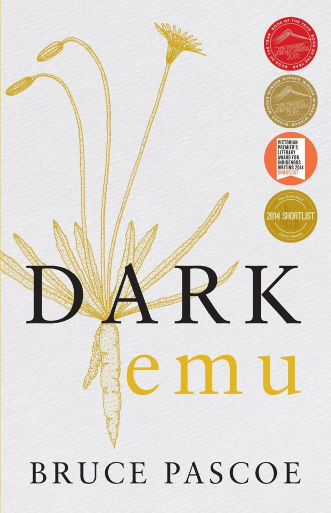 Book cover for Dark Emu by Bruce Pascoe showing an illustration of a plant behind the title, and four literary award stickers
