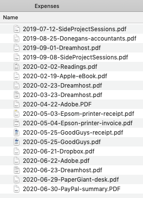Screenshot of a Finder window containing a list of files such as '2019-07-12-SideProjectSessions.pdf' and others in the same format of YYYY-MM-DD-Name.pdf