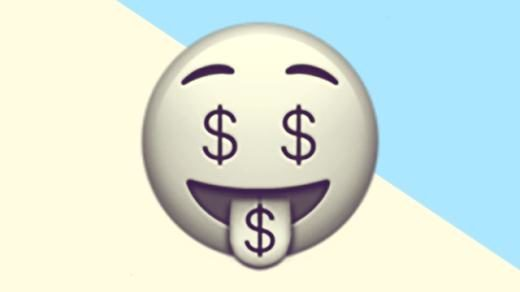 A duotoned dark purple and beige version of the Apple 'money-mouth face' emoji, in front of a light blue triangle shape in the top right corner of the image