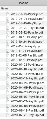 Screenshot of a Finder window containing a list of files such as '2019-07-18-PaySlip.pdf' and others in the same format of YYYY-MM-DD-PaySlip.pdf