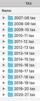 Screenshot of a Finder window containing a list of folders named '2007-08 tax', '2008-09 tax' and so on