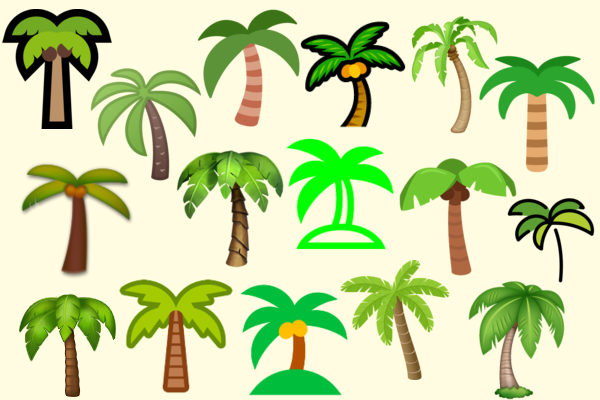 Compilation of 16 different palm tree emojis, each with the same basic trunk and leaves but with varying levels of detail, shape, colours and lines.