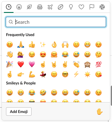 Screenshot of the 'insert emoji' screen in Slack showing 36 'Frequently Used' emoji and an 'Add Emoji' button