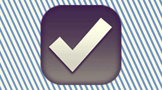 A duotoned dark purple and beige version of the Apple 'ballot box' emoji, in front of a dark blue striped background